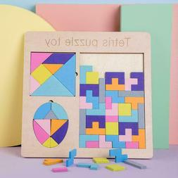 Tetris Tengram Board Kids Montessori Learning Jigsaw Puzzle