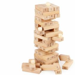 51Pcs Wooden Tower Building Blocks Stacking Toy Kids Educati