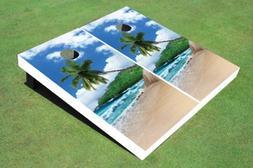Tropical Beach Tree Custom Cornhole Boards