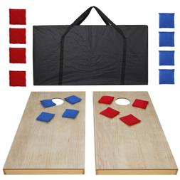 Unfinished Solid Wood Bean Bag Toss Cornhole Board Game Set