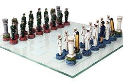 US Army vs Navy Military Chess Set Hand Painted with Glass B