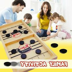 Fun Family Fast Sling Puck Game Wooden Board Table Hockey Ga