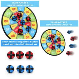 Kids Dart Board Game with 6 Balls Using Hook-and-Loop Fasten