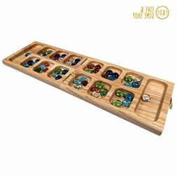Vicente Oak Wood Folding Mancala Board Game, 18 Inch - FREE