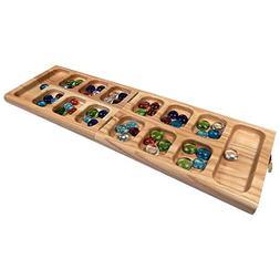 Vicente Oak Wood Folding Mancala Board Game – 18 Inch Set