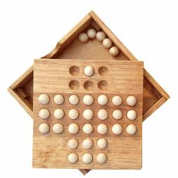 Vintage Wood Educational Board Game Single Chess Peg Solitai