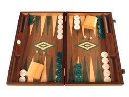 Walnut Wood Backgammon Game Set - Large Board, Brown / Green