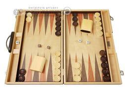18-inch Wood Backgammon Set - Olive Burlwood Board