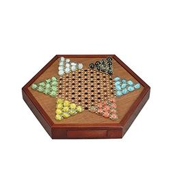 All Natural Wood Chinese Checkers with Storage Drawer and Gl