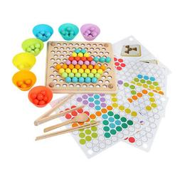 Wooden Beads Board Game for Baby Kids Clip Toddlers Early De