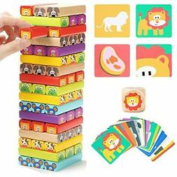 TOP BRIGHT Colored Wooden Blocks Stacking Board Games for Ki