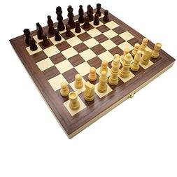 Wooden Checkers Board Game and Folding Travel Chess and Chec