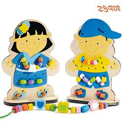 Wooka Wooden Dress-Up Doll Lacing Beads Pretend Play Set, At