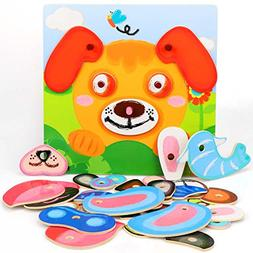Wooden Dress up Puzzles Game Pretend Play Set Animal Jigsaw