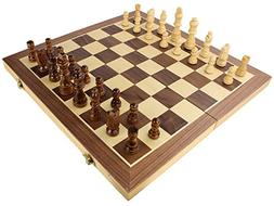 Wooden Travel Chess Set with Case and Folding Game Board by