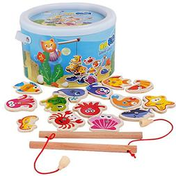 Wooden Kids Puzzles Board Magnetic Fishing Games Set with 14