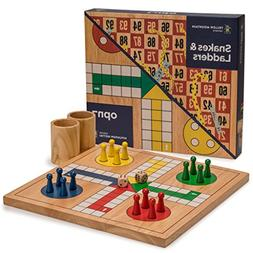 Wooden Snakes and Ladders | Ludo Game Set, Reversible, 2 Gam
