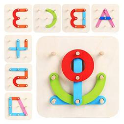 LiKee Wooden Letter-Number-Shape-Color Pegboard Set, Montess