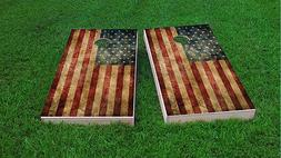 Worn American Flag Themed 2x4 Custom Cornhole Board Set w/Ba