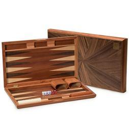 YMI Backgammon Board Game Set Inlaid Wood Case 17 inches